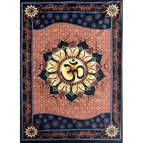"58"" x 82"" Om Lotus tapestry"