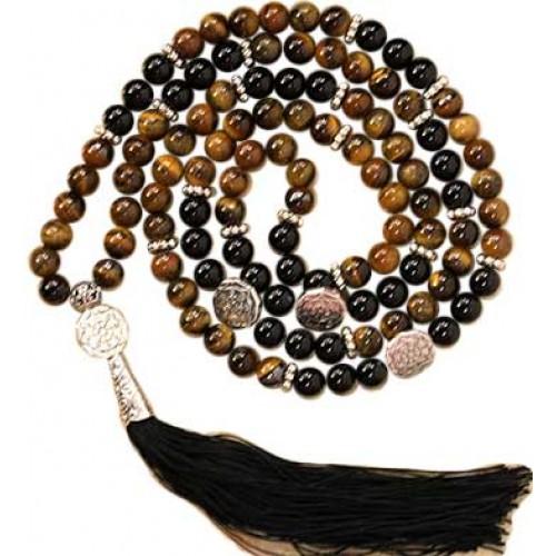 Tiger Eye & Black Agate Buddhist Wheel elastic mala