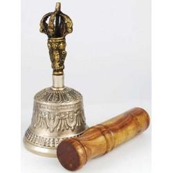"Bronze Tibetan Hand Bell & Puja Stick 5"""