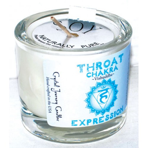 Throat chakra soy votive candle
