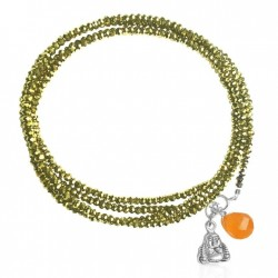 Gold Crystal Wrap Bracelet with Carnelian and Buddha Charms for Prosperity