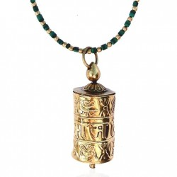 Golden Prayer Wheel on Malachite Necklace for Balance in Your Life