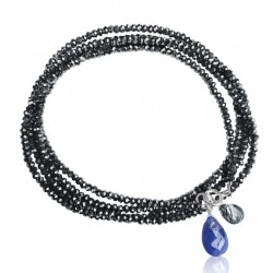 Midnight Color Crystal Wrap Bracelet with Tanzanite and Rutilated Quartz to Celebrate Individuality