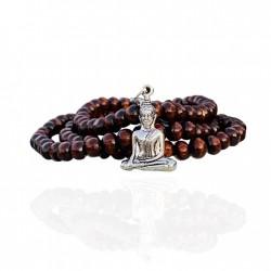 Prayer Bead Mala Wood Necklace with Buddha, 108 beads